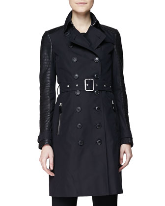Trenchcoat w/ Quilted Leather Sleeves