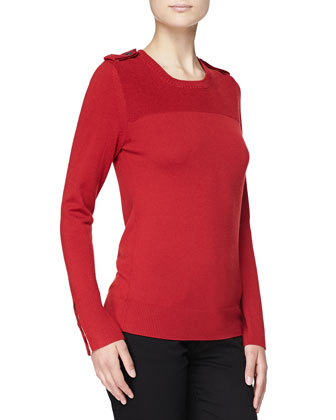 Merino Crewneck Epaulets Sweater, Military Red