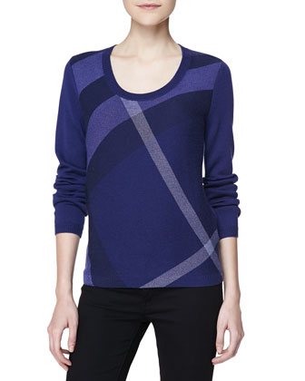 Check Knit Long-Sleeve Sweater, Blue