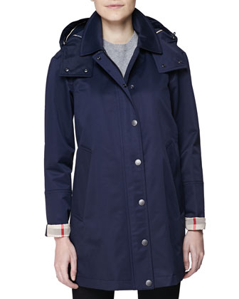 Hooded Check-Cuff A-Line Car Coat