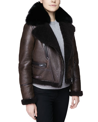 Cropped Fur-Trim Aviator Biker Jacket, Chocolate