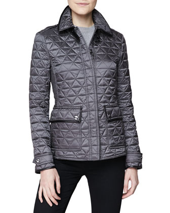 Diamond Quilted Leather-Trim Jacket