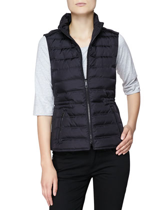 Twin Needle Quilted Zip-Front Gilet, Black