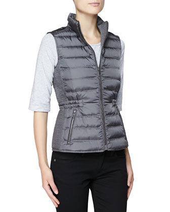 Twin Needle Quilted Zip-Front Gilet, Pewter