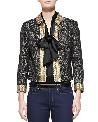 Metallic Eyelash Tweed Jacket, Liquid Satin Cap Sleeve Shell & Soft Stretch ...