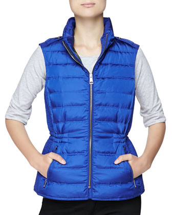 Twin Needle Quilted Zip-Front Gilet, Sapphire Blue