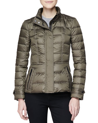 Short Feminine Puffer Jacket, Military Olive
