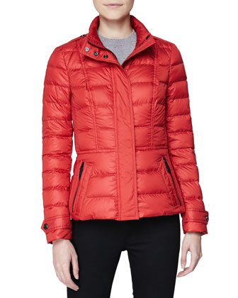 Short Feminine Puffer Jacket, Military Red