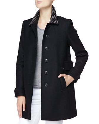 Studded-Collar Wool Coat with Zip Pockets