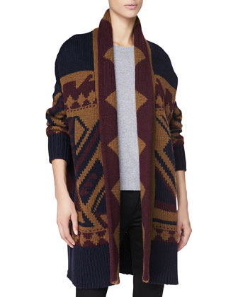 Graphic Long Wool Cardigan