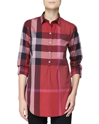 Long-Sleeve Half-Button Check Top, Berry Red
