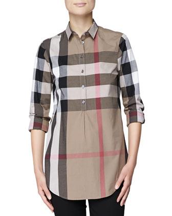 Check Cotton Half-Button Tunic Shirt