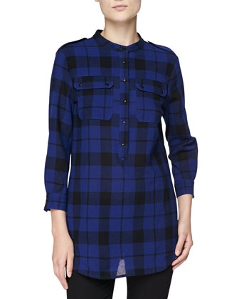 Long Plaid Shirt with Epaulets, Sapphire Blue