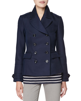 Double-Breasted Twill Coat, Navy