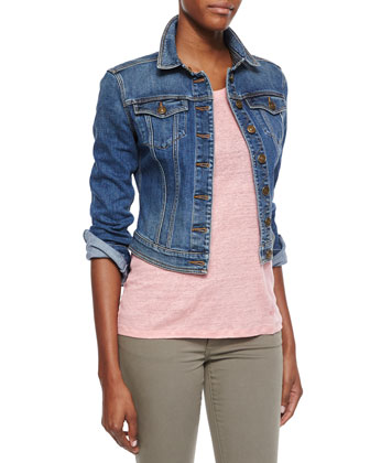 Denim Cropped Trucker Jacket, Indigo