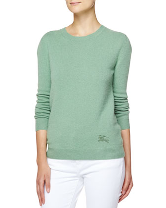 Cashmere-Cotton Crewneck Sweater, Opal Green