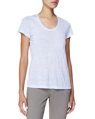 Short-Sleeve Linen Tee, Sky Blue