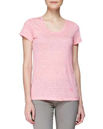Basic Short-Sleeve Linen Tee, Pink