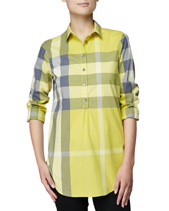 Long-Sleeve Long Check Shirt, Amber Yellow
