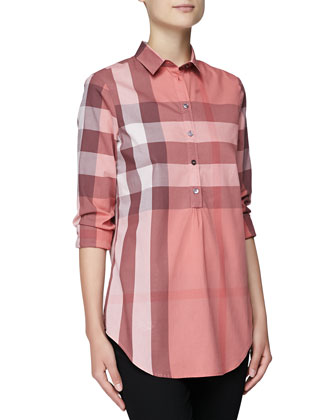 Long-Sleeve Long Check Shirt, Coral Pink