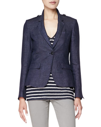 Fitted Linen One-Button Blazer