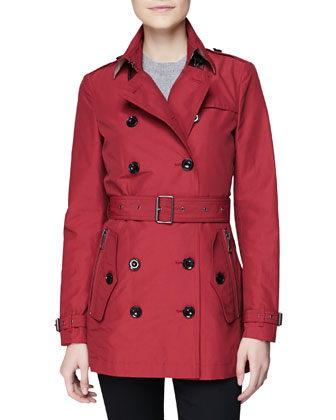 Double-Breasted Trench Coat, Crimson