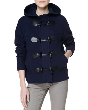 Felted Merino Hooded Duffle Coat, Navy