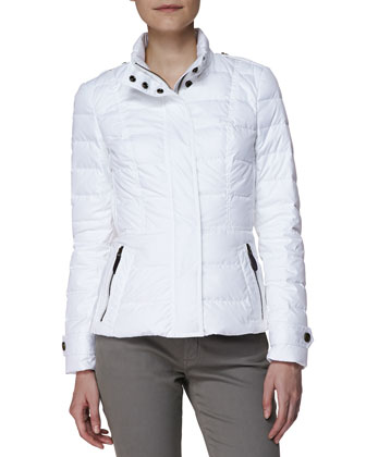 Short Feminine Puffer Jacket, White