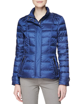 Short Feminine Puffer Jacket, Steel Blue