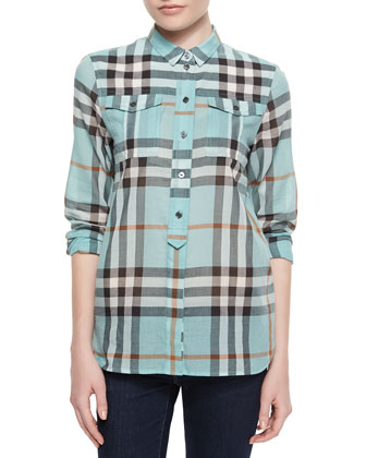 Long-Sleeve Check Flap-Pocket Shirt, Green Opal