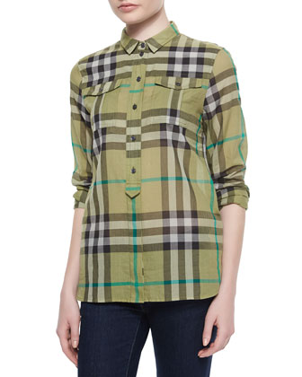 Long-Sleeve Check Flap-Pocket Shirt, Khaki Green