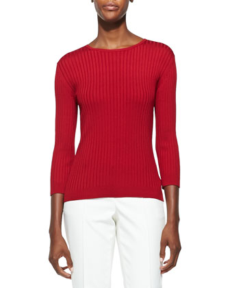 Rib Knit Jewel Neck 3/4-Sleeve Top, Cardinal