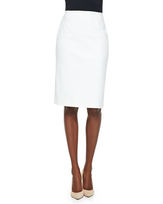 Milano Knit Jewel Neck Peplum Top & Stretch Micro Ottoman Skirt