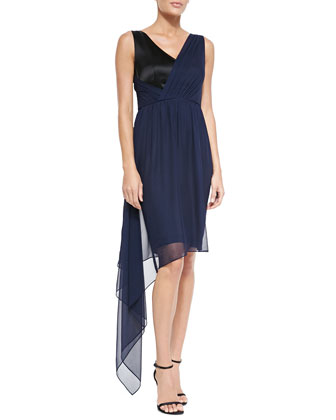 Liquid Crepe V-Neck Dress with Chiffon Drape