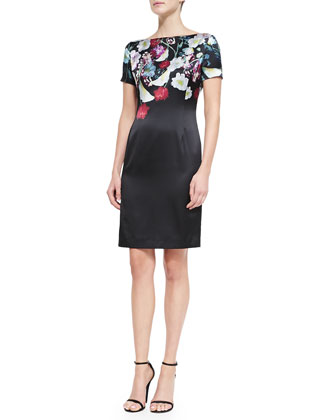 Midnight Floral-Print Stretch Satin Dress, Caviar