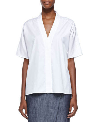 Trapunto Envelope-Collar Poplin Shirt, White