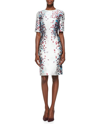 Venetian Glass Print Mikado Dress, Cream/Multi