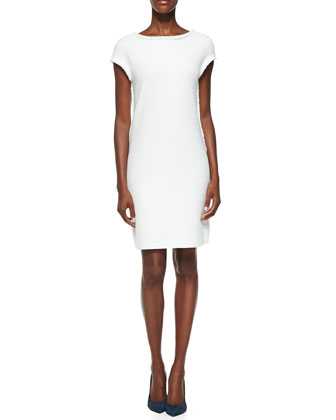 Tonal Custom Basketweave Knit Dress, Cream