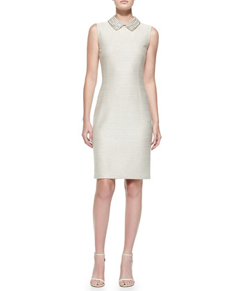 Sparkle Float Knit Sheath Dress, Gold