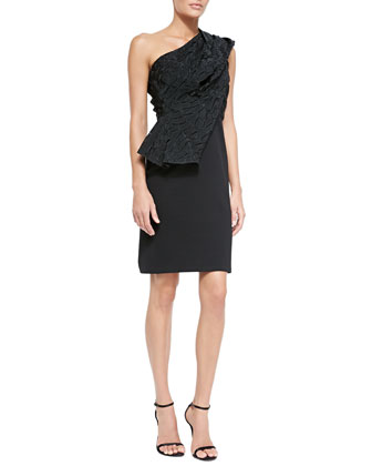 Milano Knit Dress with Crocodile-Embossed Drape & Thin Leather Hip Belt w/ ...