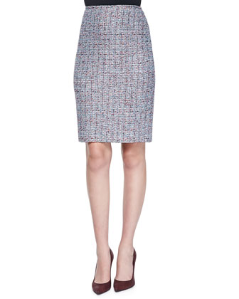 Confetti Tweed Knit Pencil Skirt, Capri/Multi