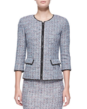 Confetti Tweed Knit Jewel Neck Jacket, Capri/Multi