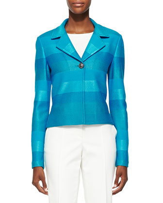 Ombre Stripe Knit Jacket, Capri