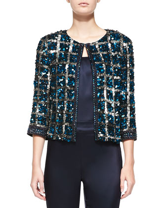 Hand-Beaded Vintage Plaid Jacket, Liquid Satin Tank & Side-Zip Cropped Pants