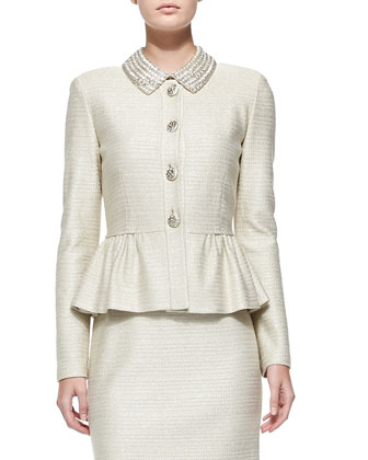 Sparkle Float Knit Peplum Jacket & Dress