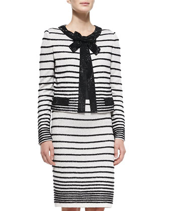 Eyelash Degrade Stripe Knit Jacket, Skirt & Liquid Satin Tank