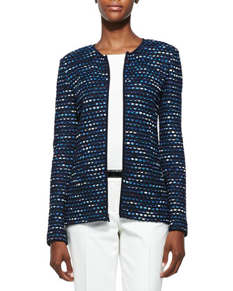 Inlay Ribbon Stripe Knit Jacket, Navy