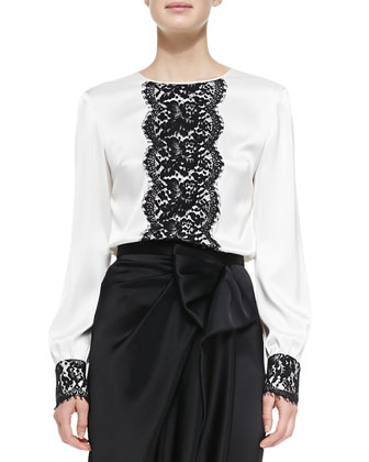 Liquid Satin Blouse with Lace & Liquid Satin Draped Asymmetric-Bow Skirt