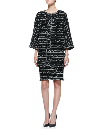 Multi Peak Knit Jewel-Neck Jacket & Bateau-Neck Dress