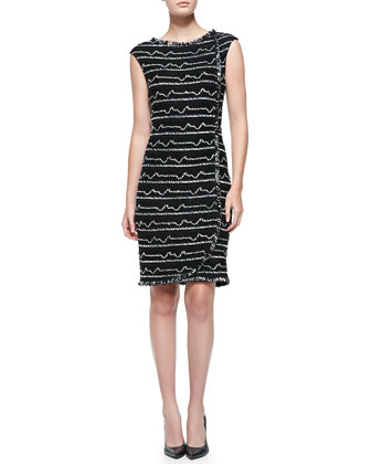 Multi Peak Knit Bateau-Neck Dress, Caviar/Cream